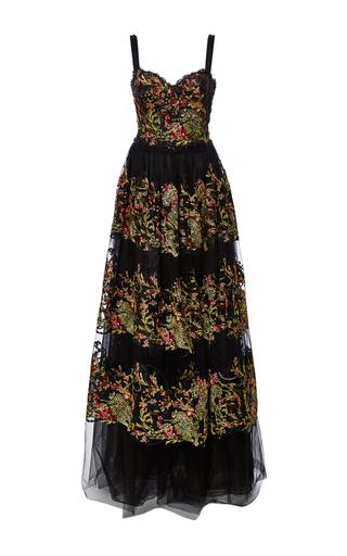 Medium marchesa black vibrant metallic threadwork a line gown