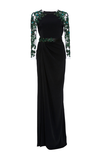 Medium marchesa black fitted stretch crepe gown