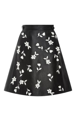 Medium carolina herrera black enameled jasmine a line leather skirt