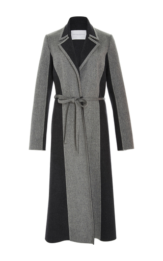 Medium carolina herrera light grey bi color classic wool cashmere coat
