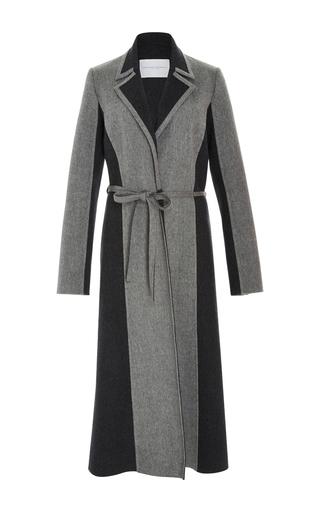 Medium carolina herrera light grey bi color classic wool cashmere coat