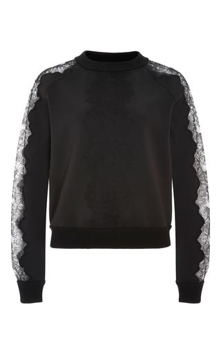 Medium carolina herrera black techno jersey lace trim sweatshirt