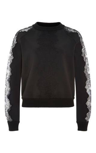 Medium carolina herrera black techno jersey lace trim sweatshirt