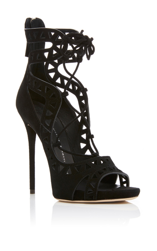 Medium giuseppe zanotti black coline cutout suede sandals