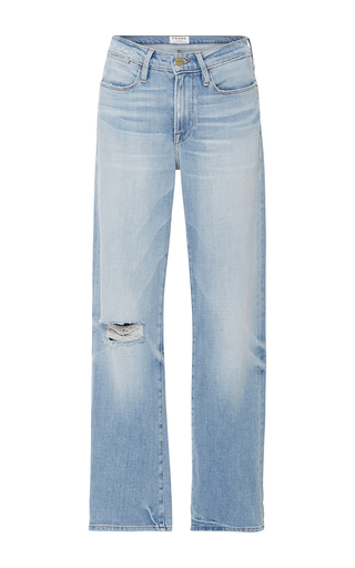 Medium frame denim light wash le high 70s straight legged jeans
