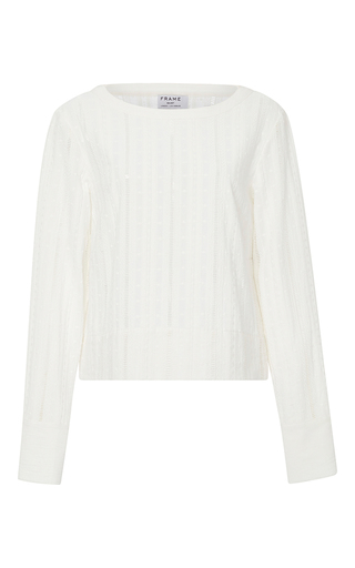 Medium frame denim white le long sleeved lace top