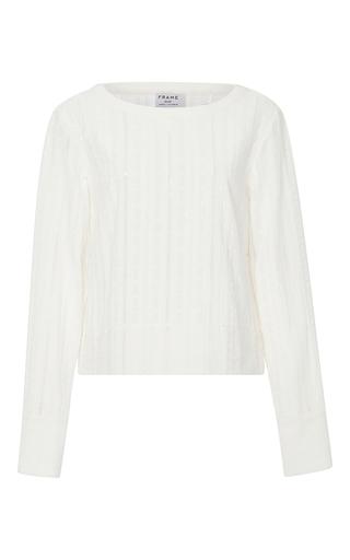 Medium frame denim white le long sleeved lace top