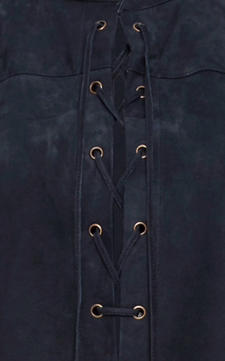 Suede Lace Up Blouse by FRAME DENIM Now Available on Moda Operandi