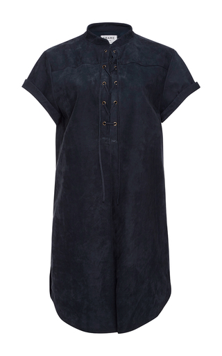 Medium frame denim navy suede lace up blouse