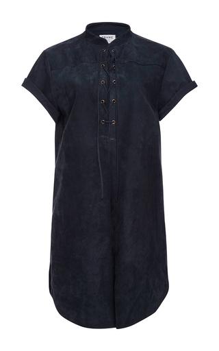 Medium frame denim navy suede lace up blouse