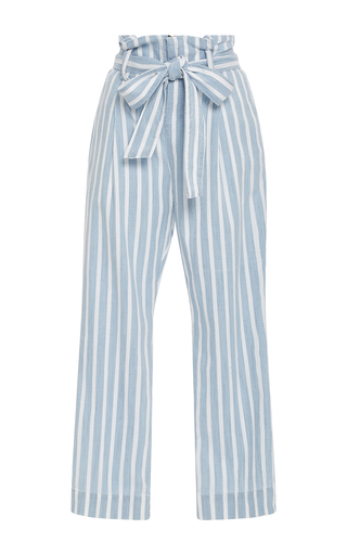 Medium frame denim stripe le paperbag trousers