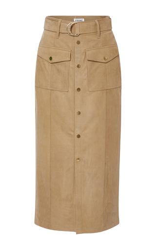 Medium frame denim tan le patch pocket skirt
