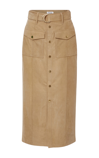 Medium frame denim tan le patch pocket skirt