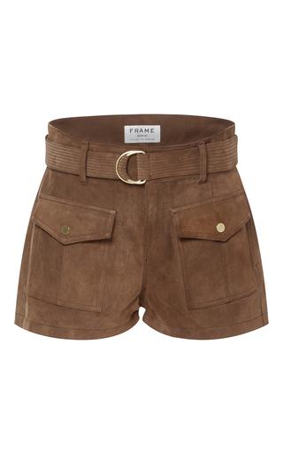 Medium frame denim brown le patch pocket shorts