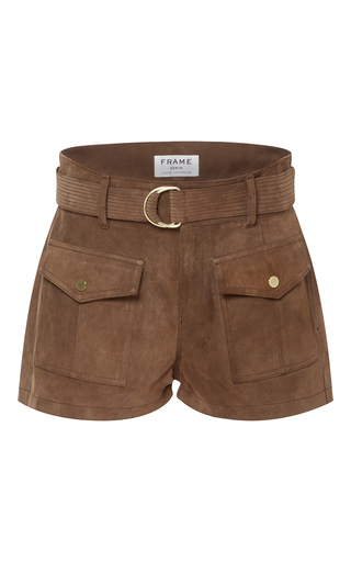 Medium frame denim brown le patch pocket shorts