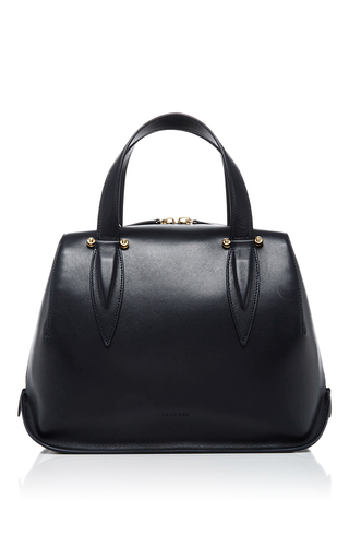 Medium delpozo navy leather top handle bag