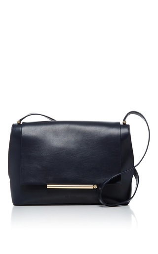Medium delpozo navy leather crossbody bag