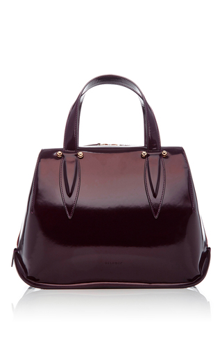 Medium delpozo burgundy patent leather top handle bag