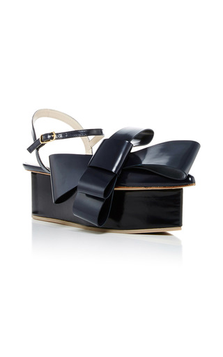 Medium delpozo black bow platform sandals