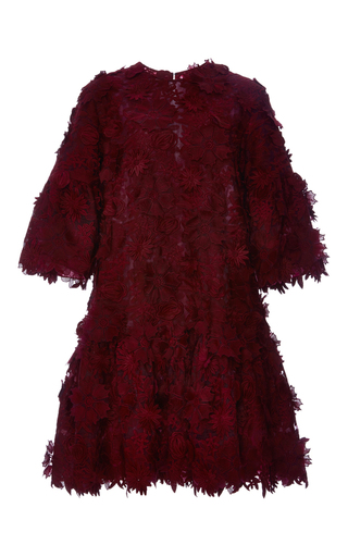 Medium costarellos burgundy guipure flower lace jumper dress