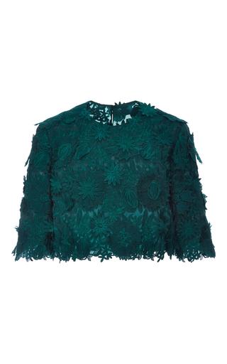 Medium costarellos dark green guipure lace top