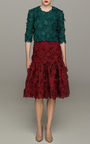 Ruffled Guipure Lace Midi Skirt by COSTARELLOS Now Available on Moda Operandi