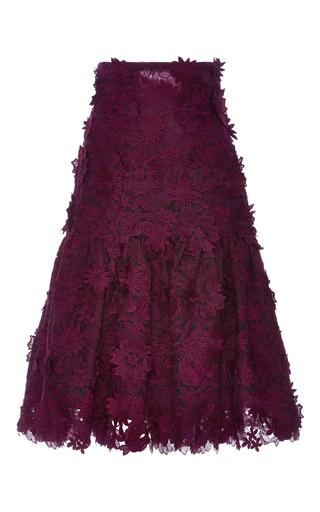 Medium costarellos burgundy ruffled guipure lace midi skirt