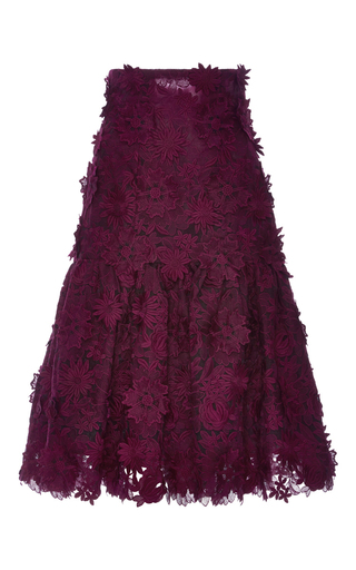 Medium costarellos burgundy ruffled guipure lace midi skirt