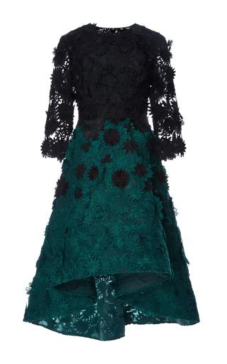 Medium costarellos dark green guipure lace degrade dress