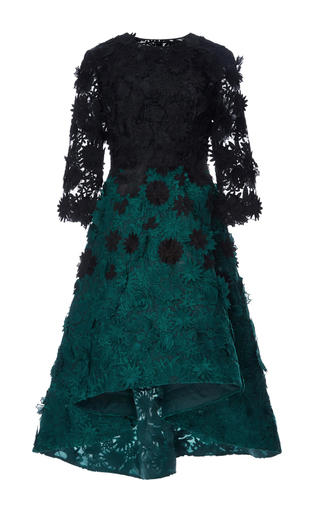 Medium costarellos dark green guipure lace degrade dress