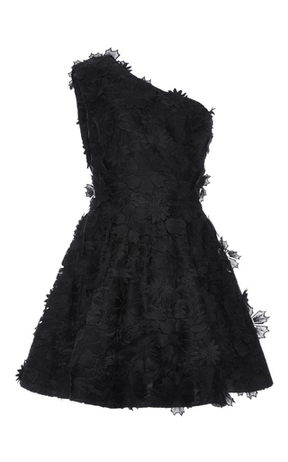 Medium costarellos black one shoulder guipure lace dress