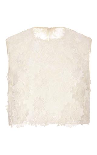 Medium costarellos neutral guipure lace cropped top