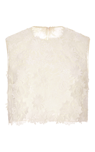 Medium costarellos neutral guipure lace cropped top