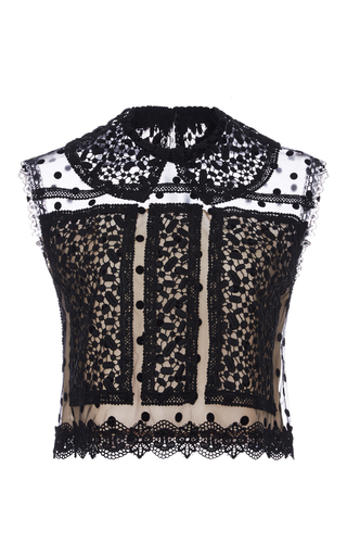 Medium costarellos black dot tulle and chantilly lace sleeveless top