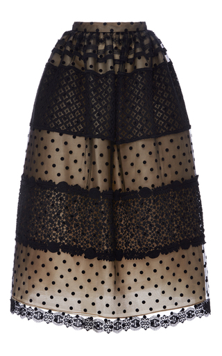 Medium costarellos black chantilly lace and dot tulle ball skirt