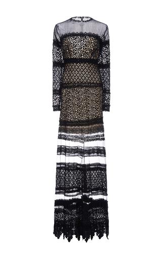 Medium costarellos black layered guipure lace long dress