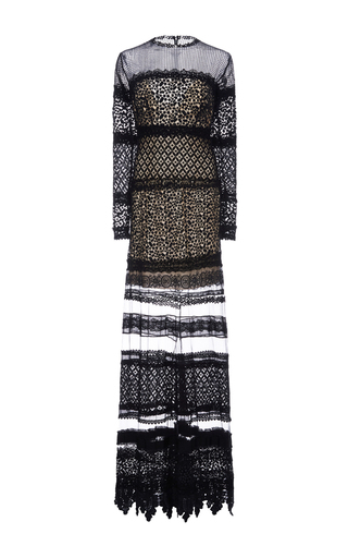 Medium costarellos black layered guipure lace long dress