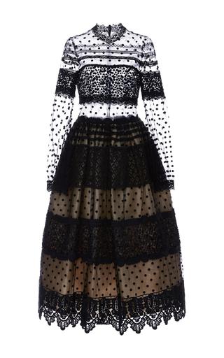 Medium costarellos black dot tulle and chantilly lace midi ball dress