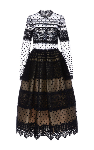 Medium costarellos black dot tulle and chantilly lace midi ball dress