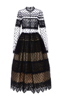 Polka Dot Lace Midi Dress by COSTARELLOS Now Available on Moda Operandi