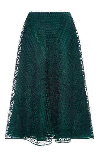 Medium costarellos dark green deep green guipure lace midi skirt