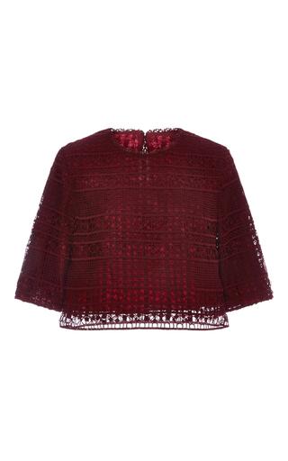 Medium costarellos burgundy guipure lace jewel neck top