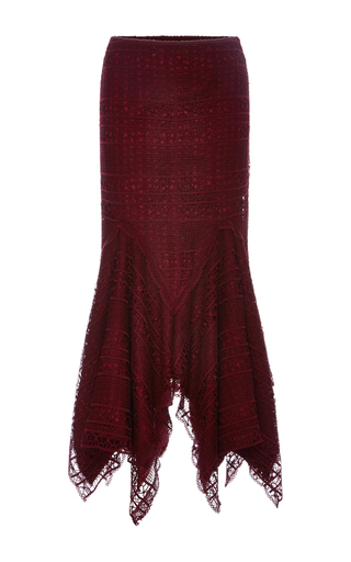 Medium costarellos burgundy guipure lace pencil midi skirt