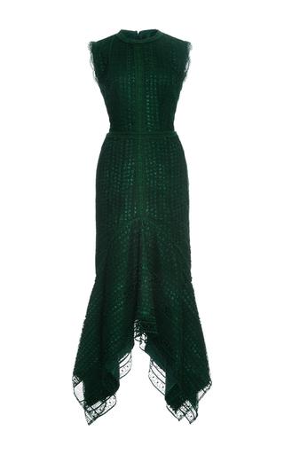Medium costarellos dark green guipure lace sleeveless midi dress