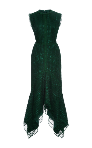 Medium costarellos dark green guipure lace sleeveless midi dress