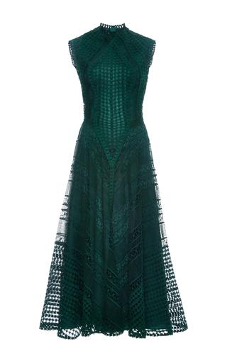 Medium costarellos dark green guipure lace backless midi dress
