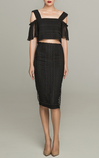 Medium costarellos black guipure lace pencil skirt