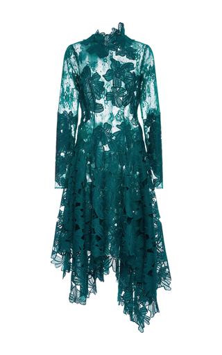 Medium costarellos dark green guipure and chantilly lace asymmetrical dress