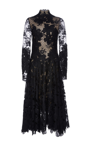 Medium costarellos black guipure and chantilly lace midi dress