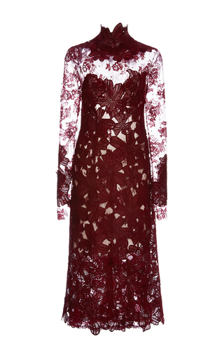 Medium costarellos burgundy long sleeve guipure and chantilly lace midi dress